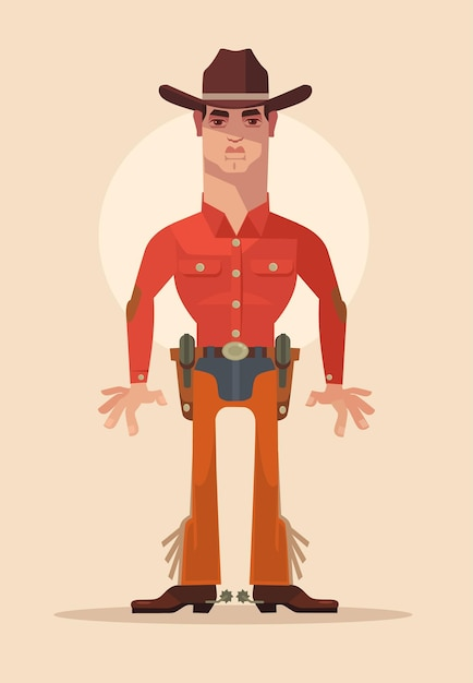 Cowboy sheriff character. Premium Vector