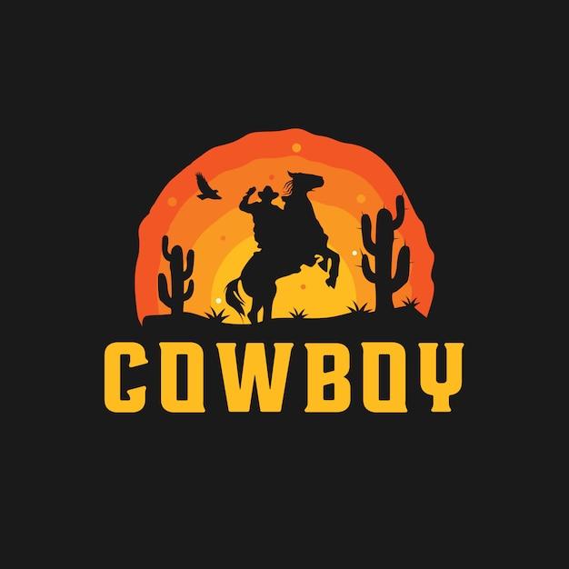 Cowboy silhouette logo Premium Vector