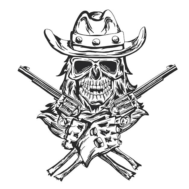 Teschio da cowboy al cappello con due pistole in mano. Vettore gratuito