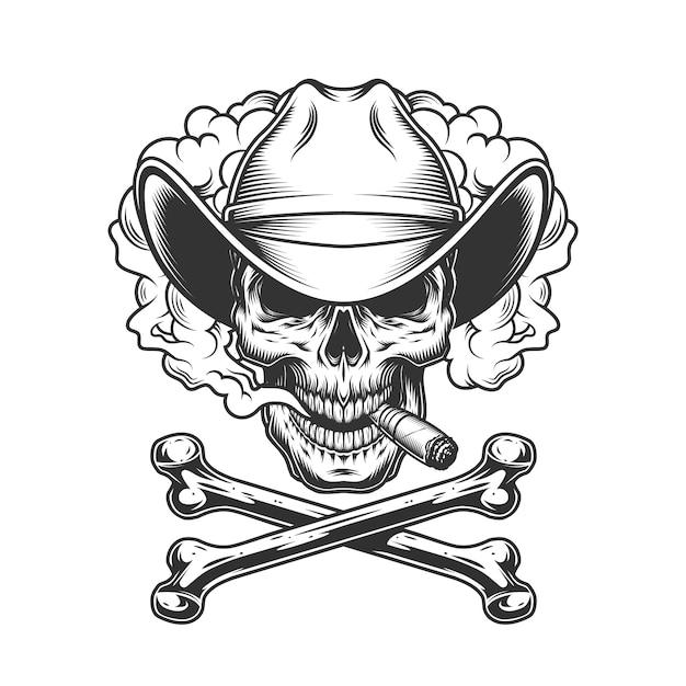 Cowboy skull smoking cigar Free Vector