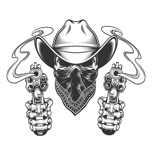 Cowboy skull with scarf on face Free Vector