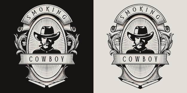 Cowboy smoking vintage logo Premium Vector