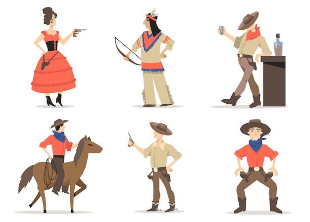 Набор персонажей ковбойских историй. традиционные жители дикого запада, красные индейцы, парень из родео с верхом на лассо, шериф, пьющий виски в салуне. за американскую культуру, традиции, историю Бесплатные векторы