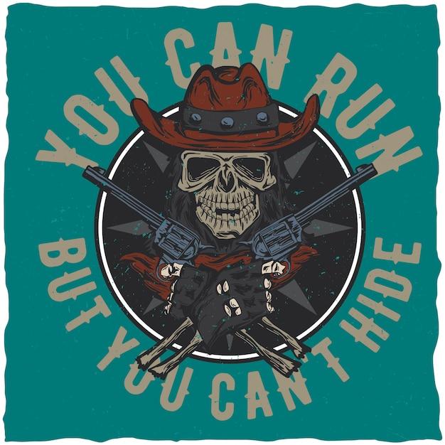 Дизайн этикетки ковбойской футболки с изображением черепа в шляпе с двумя пистолетами в руках. Бесплатные векторы