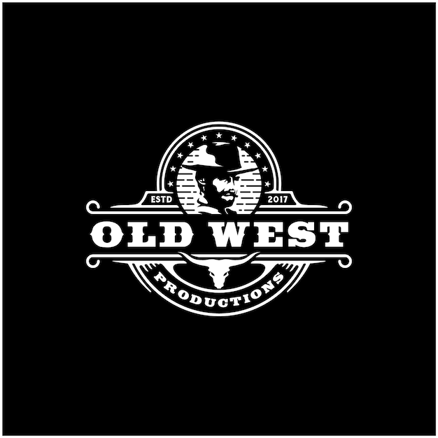 Cowboy and texas longhorn, country western bull cattle vintage logo design Premium Vector