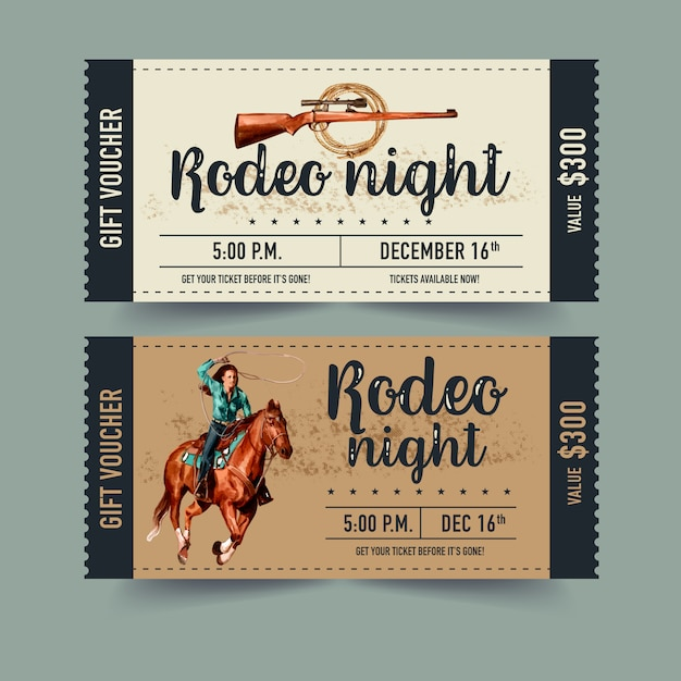 Cowboy ticket with horse, gun Free Vector