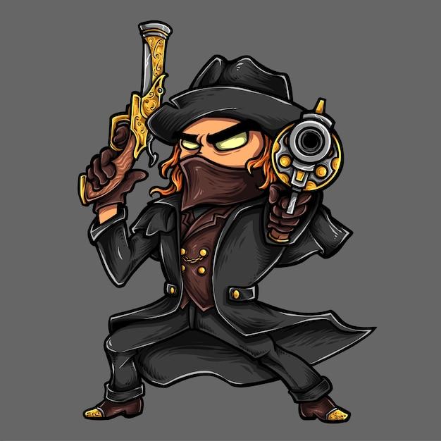 Cowboy vampire hunter gun Premium Vector