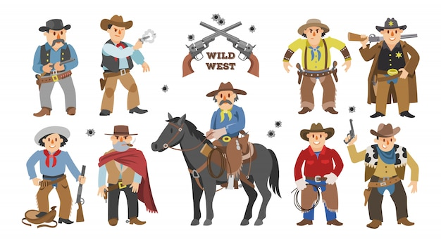 Ковбой западный мальчик-корова на диком коне Premium векторы
