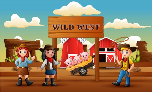 Cowboy wild west cartoon with animal in farm entrance Premium Vector