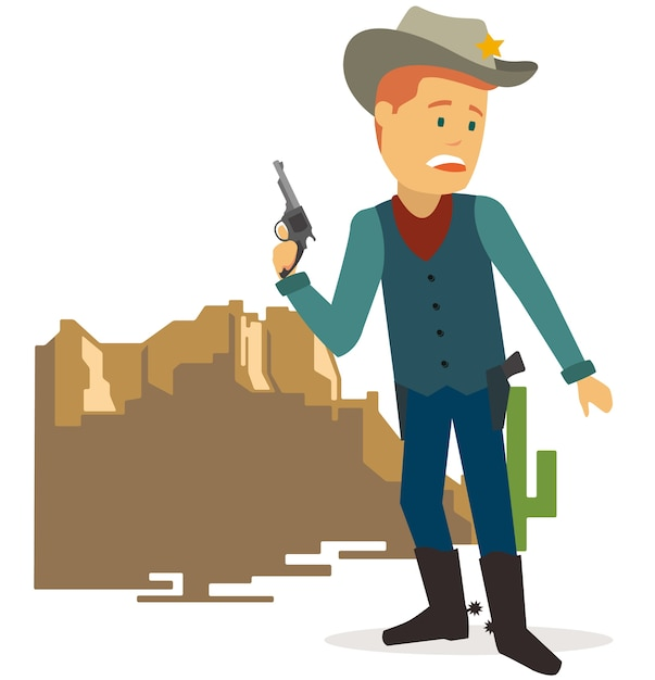 Cowboy with gun ready to beat enemy Premium Vector