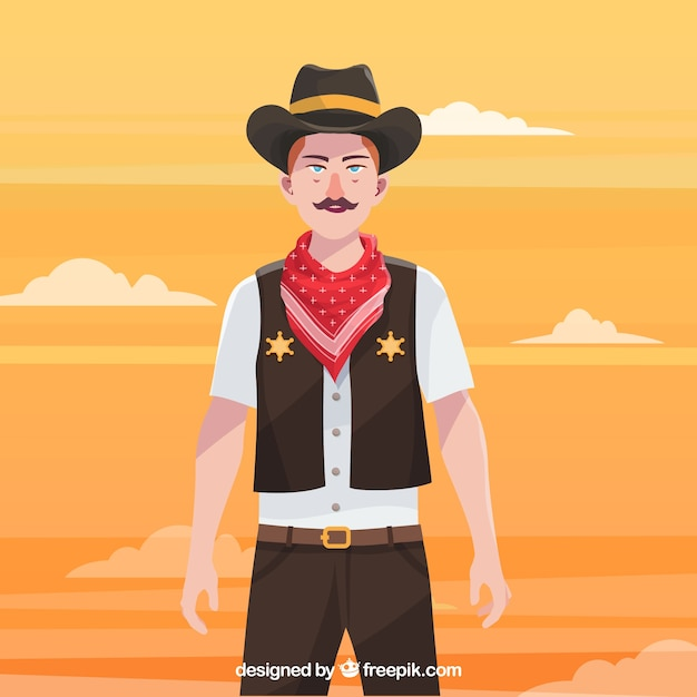 Cowboy with hat and scarf Premium Vector