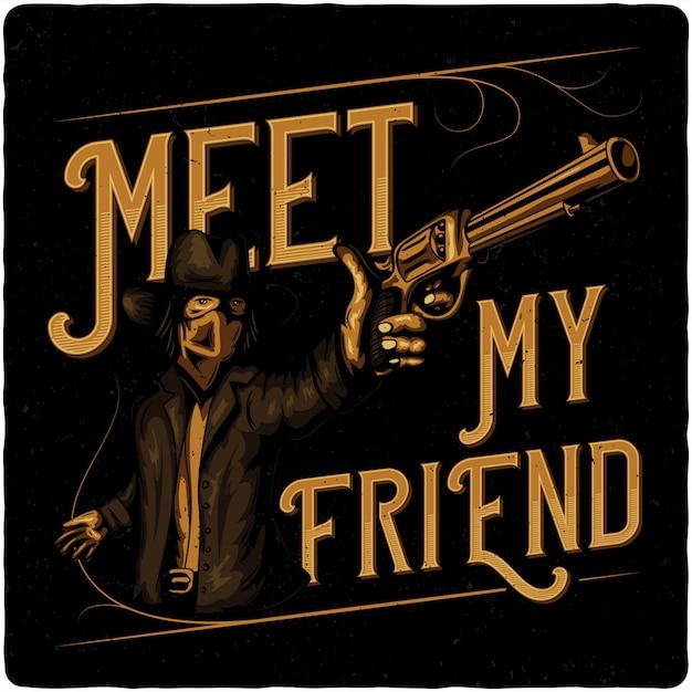 Cowboy with pistol. Premium Vector