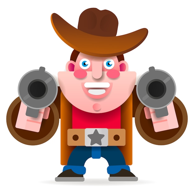 Cowboy with two guns in a wild west cape. vector Premium Vector