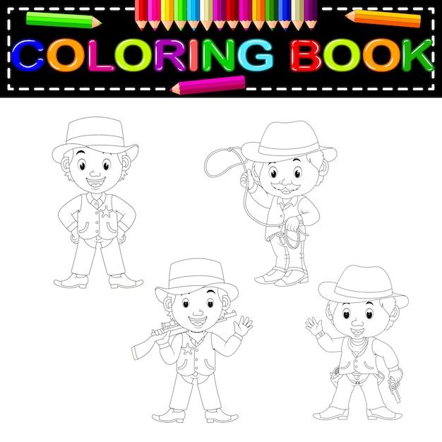 Cowboys coloring book Vector | Premium Download