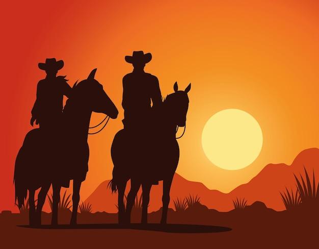 Силуэты фигур ковбоев на лошадях, закат, пейзаж Premium векторы