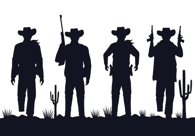 Cowboys figures silhouettes with guns characters in the desert Premium Vector