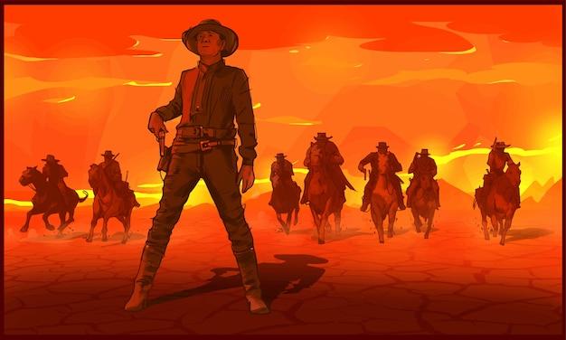 Cowboys riding horses Premium Vector