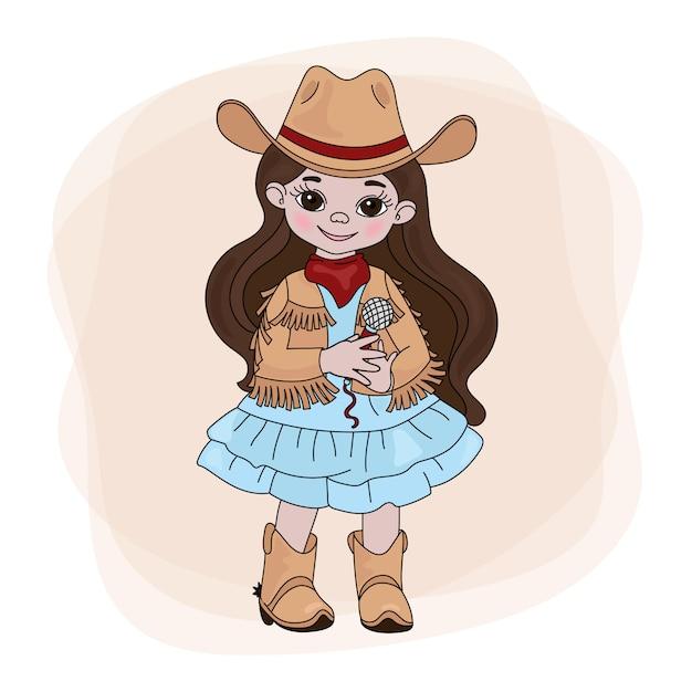Cowgirl singerウエスタンミュージックフェスティバル Premiumベクター