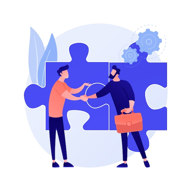 Coworkers cartoon characters. effective collaboration, coworkers cooperation, teamwork. colleagues discussing solution. successful interaction. Free Vector