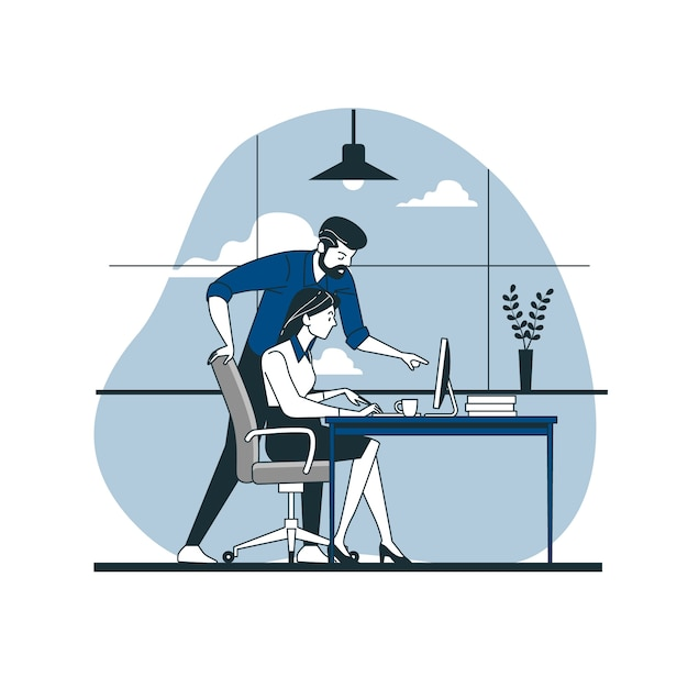 Coworkers concept illustration Free Vector