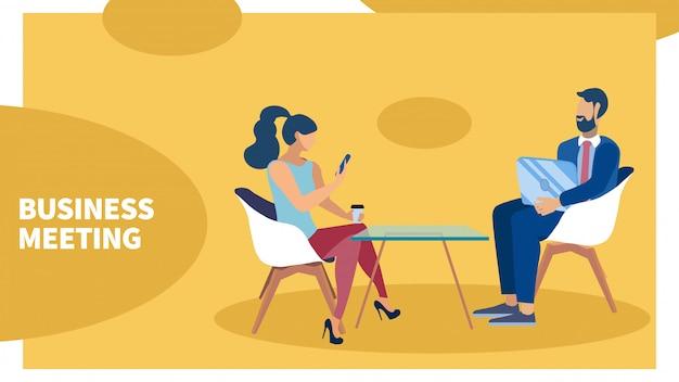 Coworkers conversation banner Premium Vector