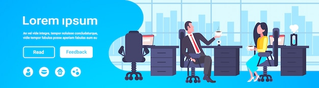 Coworkers couple sitting at workplace colleagues discussing during coffee break man woman business people talking office co-working center interior horizontal full length copy space Premium Vector