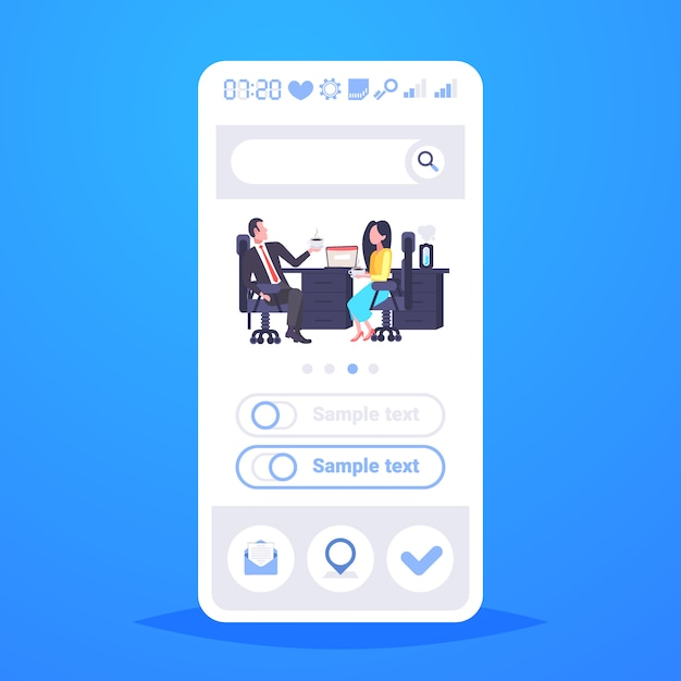 Coworkers couple sitting at workplace colleagues discussing during coffee break man woman business people talking office co-working center vertical full length copy space Premium Vector