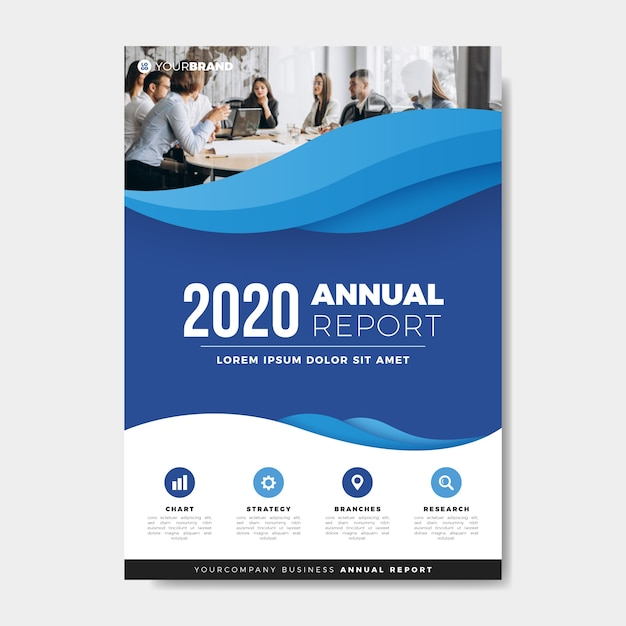 Coworkers meeting annual report template Free Vector