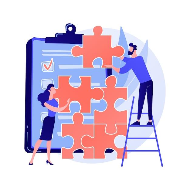 동료 프로젝트 관리. 팀 빌딩, 경영진 팀워크, 동료 협업. 직소 퍼즐 개념 그림을 조립하는 직원 문자 무료 벡터
