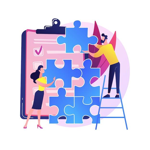 Коллеги по управлению проектами. тимбилдинг, командная работа руководителей, сотрудничество коллег. сотрудники персонажей собирают пазл. Бесплатные векторы