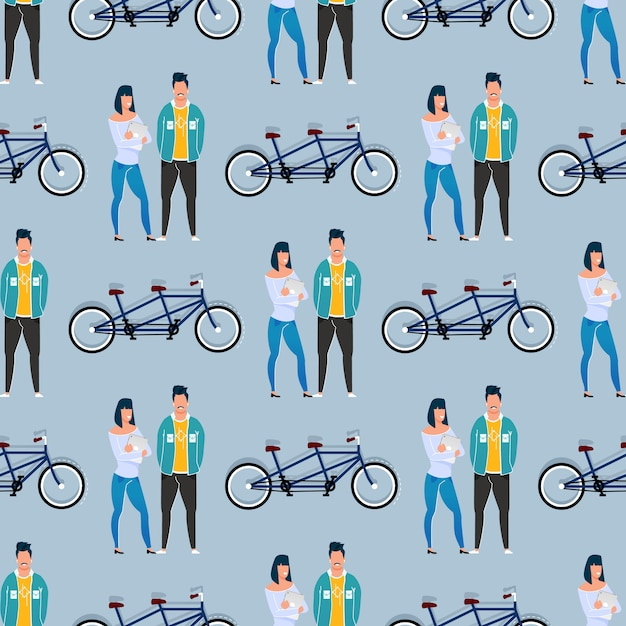 Coworkers and tandem bicycle seamless pattern Premium Vector