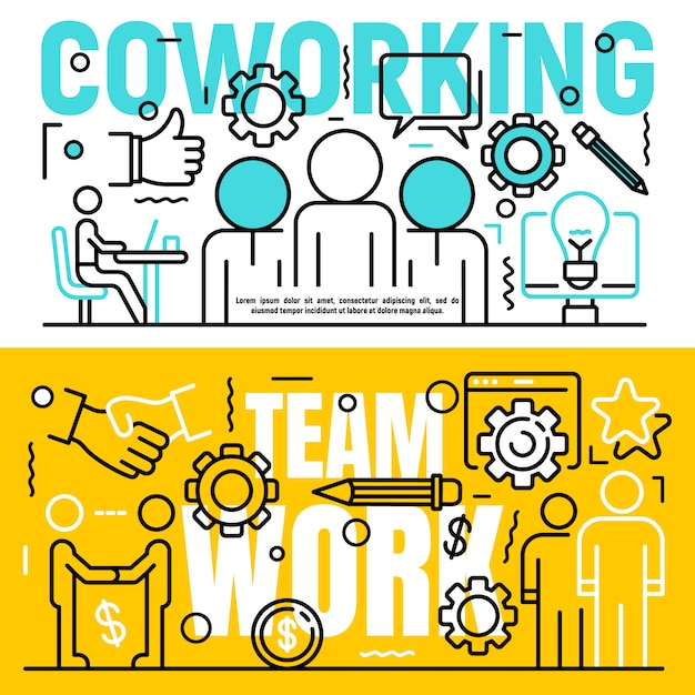 Coworking banner set, outline style Premium Vector
