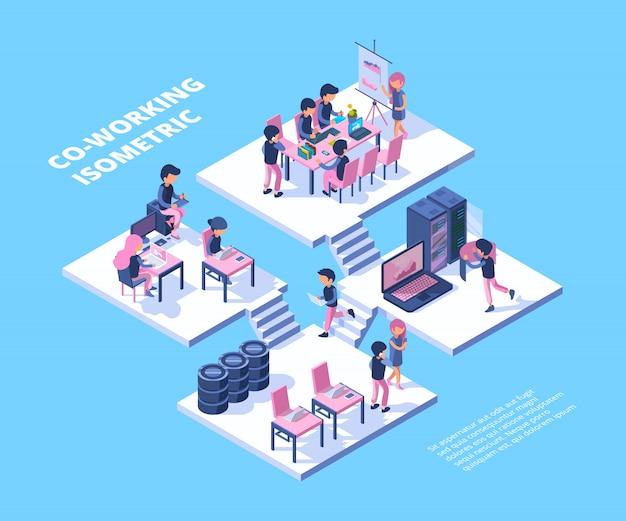 Коворкинг бизнес группа фрилансеров профессионалов групповая встреча людей, работающих вместе говорить коворкинг концепции Premium векторы