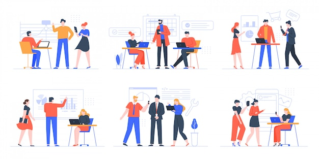 Coworking business team. people working together, creative teamwork in coworking space, office teamwork meeting  illustration set. creative teamwork, cooperation partnership brainstorming Premium Vector