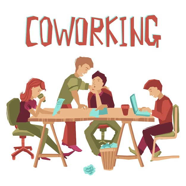 Coworking center concept Free Vector