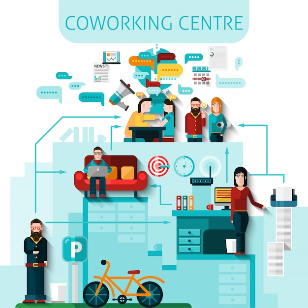 Coworking centre composition Free Vector