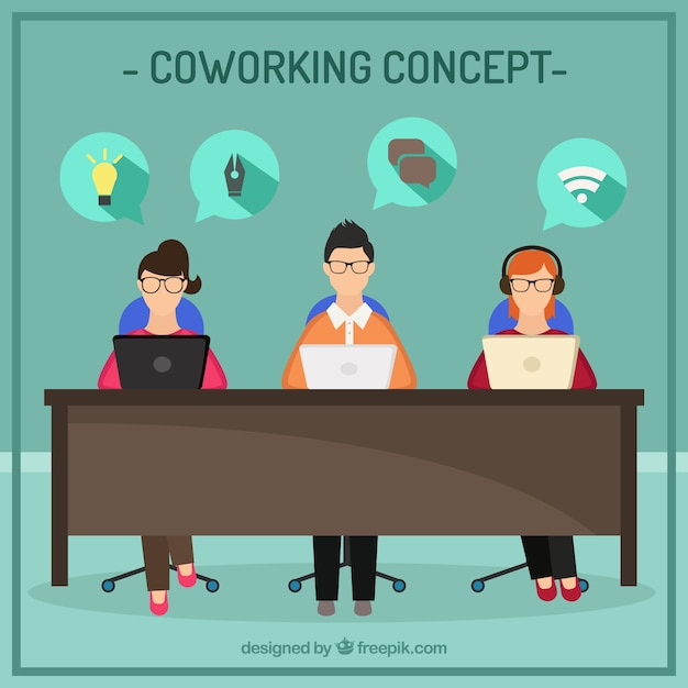 Coworking concept flat illustration Free Vector