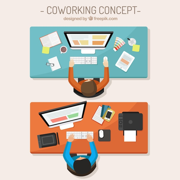 Coworking Concept Illustration Free Vector