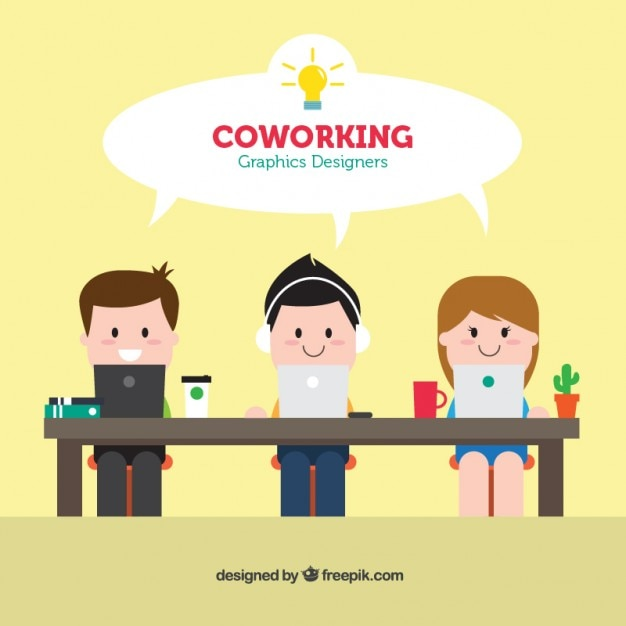 Coworking Graphic Designers Free Vector