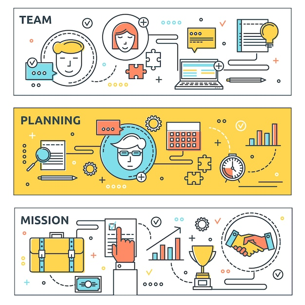 Coworking horizontal banners set Free Vector