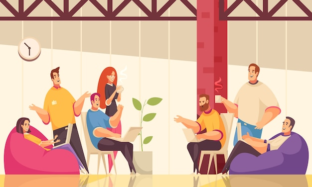 創造的な従業員のグループとコワーキング水平図は、オープンスペースのオフィスでコーヒーを飲みながら一般的なビジネスタスクを議論します 無料ベクター