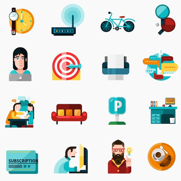 Coworking icons set Free Vector