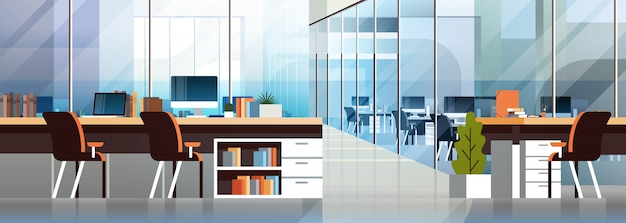 Coworking office interior modern center creative workplace environment horizontal banner Premium Vector