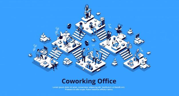 コワーキングオフィス等尺性ランディングページ。チームワーク 無料ベクター