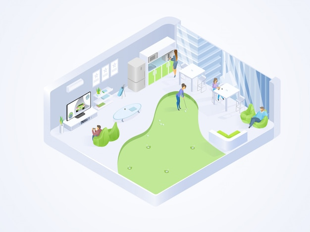 Coworking office lounge interior isometric vector Premium Vector