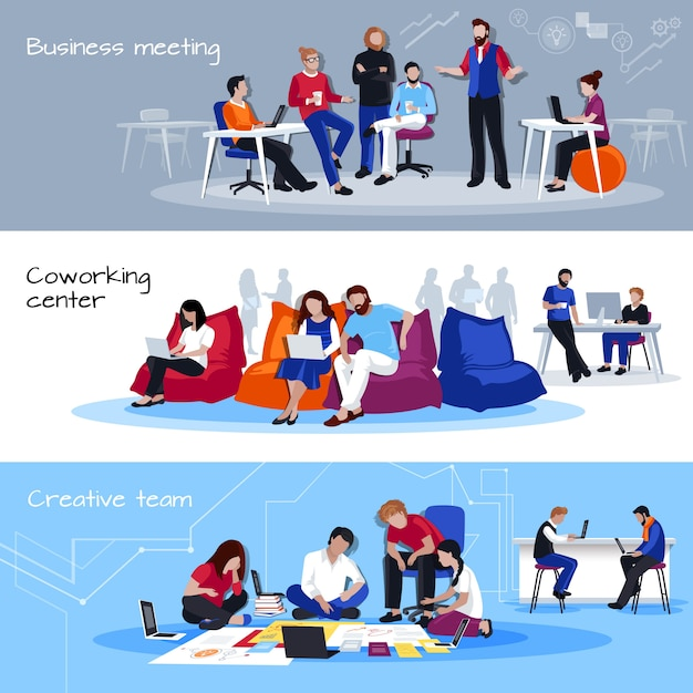 Coworking people flat horizontal banners Free Vector