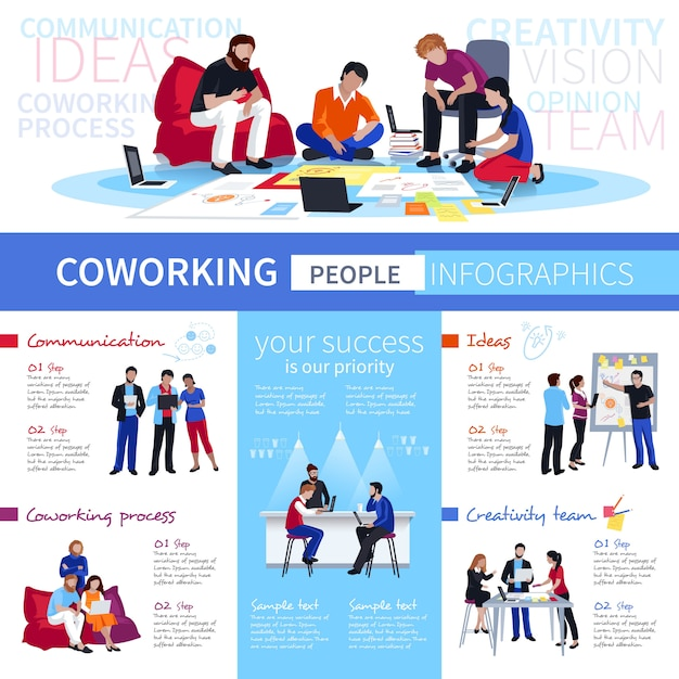 Coworking people flat infographic poster Free Vector