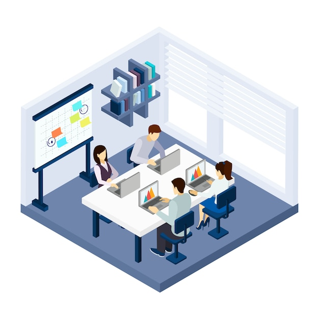 Coworking people illustration Free Vector