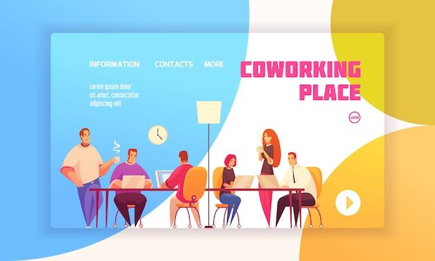 共有作業環境で同僚と会社のフラットイラストに関する連絡先情報を持つウェブサイトのコワーキング場所ランディングページのコンセプト 無料ベクター
