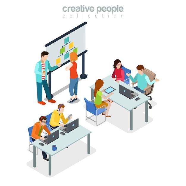 Coworking presentation meeting office interior indoor concept. Free Vector